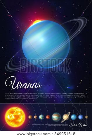 Uranus Planet With Rings Of Gas Poster. Galaxy Discovery And Exploration. Realistic Planetary System
