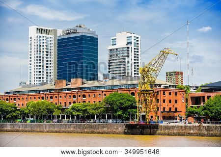 Buenos Aires, Argentina - 16 Feb, 2017: Daytime View At The Waterfront In Puerto Madero, Buenos Aire
