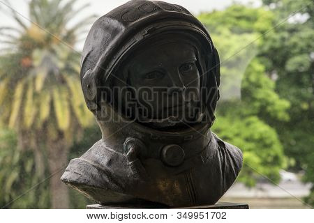 Buenos Aires, Argentina - 18 Oct, 2016: Bust Of The Soviet Pilot And Cosmonaut Yuri Gagarin In The G
