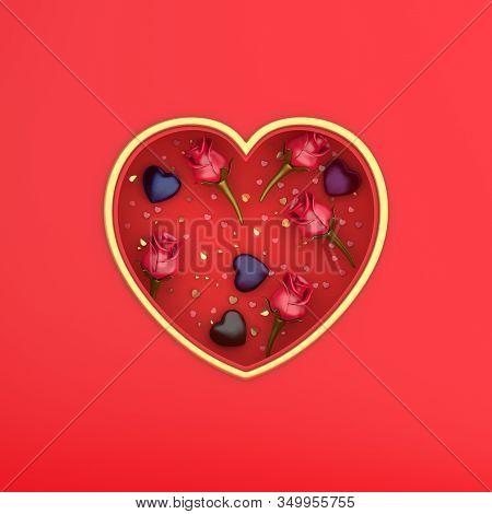 Happy Valentines Day, Valentines Day Background, Red Rose Flower, Heart Shape Window Frame, Chocolat