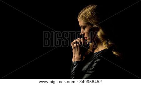 Miserable Lady Praying In Darkness Under Heaven Light, Sinner Confession, Faith
