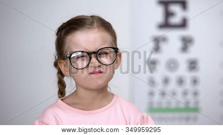 Capricious Little Girl Afraid Of Eyeglasses, Feeling Insecure, Vision Correction