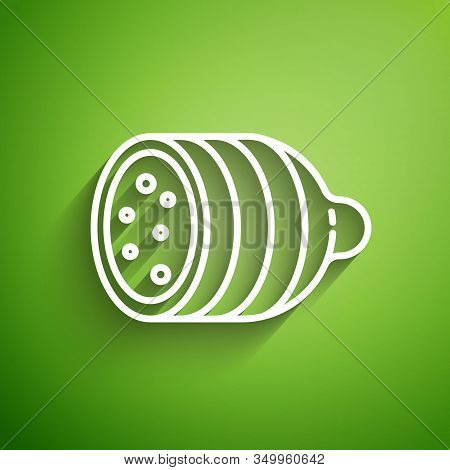 White Line Salami Sausage Icon Isolated On Green Background. Meat Delicatessen Product. Vector Illus