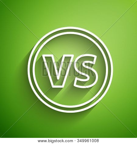 White Line Vs Versus Battle Icon Isolated On Green Background. Competition Vs Match Game, Martial Ba