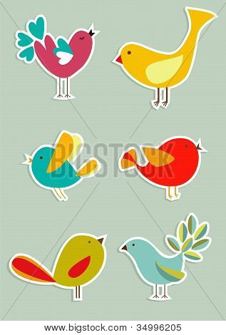 poster of Retro Social media birds in label style series. Vector file