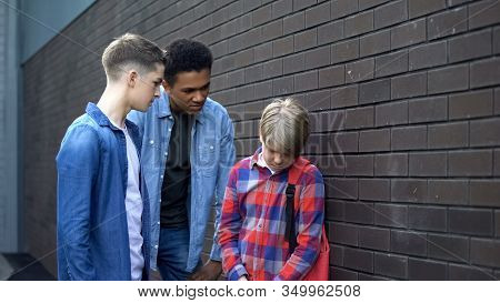 Cruel High School Students Bullying Junior Boy, Verbal Abuse, Intimidation