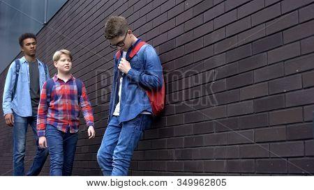Mean Students Approaching Nerd Boy In Backyard, School Bullying, Intimidation