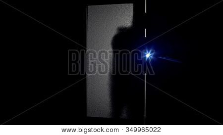 Burglar Shadow With Flashlight Breaking Into Bank, Unsafely Alarm System Concept