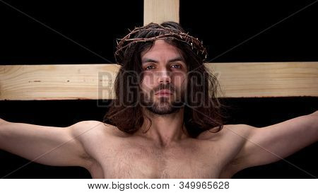 Son Of God In Crown Of Thorns Suffering For Sins, Crucified Messiah, Sacrifice