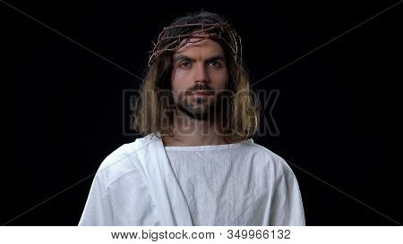 Messiah In Thorns Crown On Dark Background, Biblical History, Religious Belief