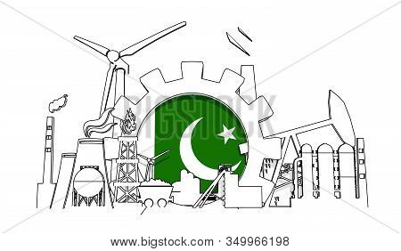 Energy And Power Industrial Concept. Gear With Flag Of The Pakistan. Energy Generation And Heavy Ind