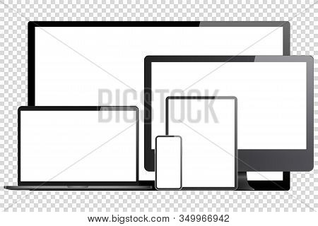 Computer Tv Laptop Mobile Device Set Vector Illustration