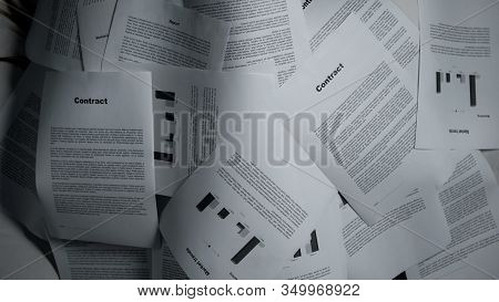 Piles Of Documents Lying On Table, Messy Work Place, Overloading Concept