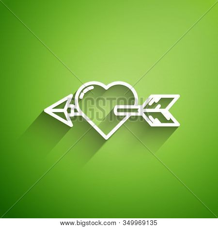 White Line Amour Symbol With Heart And Arrow Icon Isolated On Green Background. Love Sign. Valentine