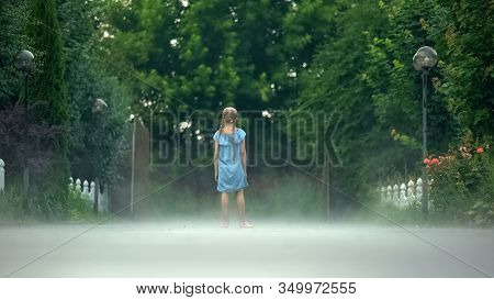 Little Girl Standing Barefoot In Haze, Mysterious Frightful Atmosphere Childhood