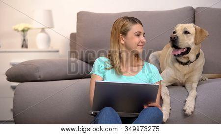 Happy Labrador Retriever Female Owner Buying Dog Food Online Using Laptop Pc