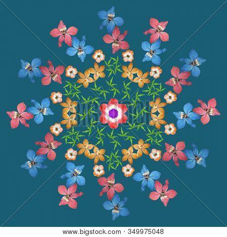 Mandala From Dried Pressed Flowers, Petals. Geranium, Larkspur. Mandala Is Symbol Of Buddhism, Hindu