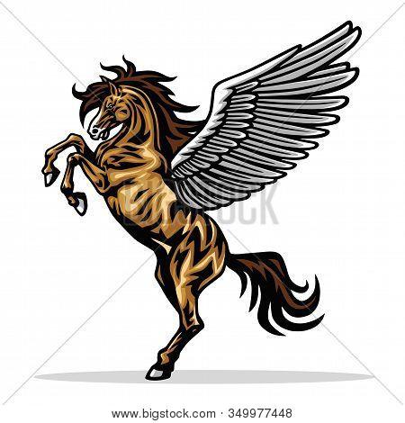 Angry Pegasus Flying Horse. Majestic Pegasus Cartoon Vector Logo Mascot Design Illustration