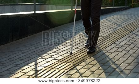 Blind Man Walk Along Tactile Paving, Safe Urban Navigation For Visually Impaired