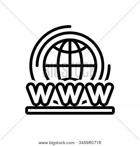 Black Line Icon For World-wide-web Access Connection  Digital Technology Web Global Planet Modem Web