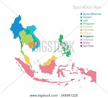 Map Of Southeast Asia (southeastern Asia) With Country Name