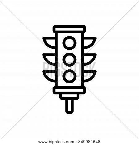 Black Line Icon For Traffic-light Traffic Light Stoplight Semaphore Crosswalk Signal Control Sign Sa
