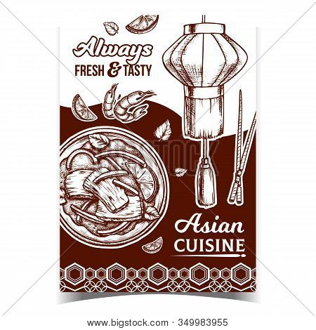 Asian Delicious Cuisine Advertising Poster Vector. Asian Dish With Beef And Basil, Lime And Pepper,