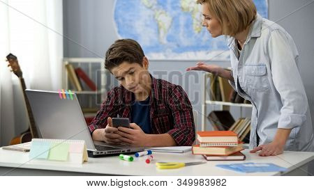 Mother Scolding Indifferent Son Smartphone, Awkward Age Problem, Generation Gap