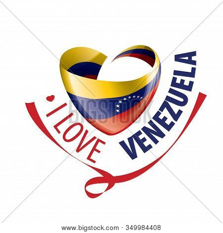 National Flag Of The Venezuela In The Shape Of A Heart And The Inscription I Love Venezuela. Vector