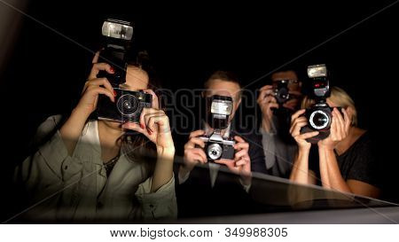 Paparazzi Making Shoots, Pov Of Celebrity Sitting In Car, Arriving To Event