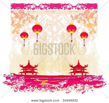 old paper with Asian Landscape and Chinese Lanterns - vintage japanese style background poster