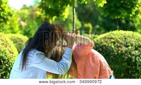 Two Young Women Fighting Pulling Hairs Of Each Other, Female Conflict, Quarrel