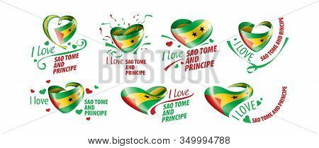 National Flag Of The Sao Tome And Principe In The Shape Of A Heart And The Inscription I Love Sao To
