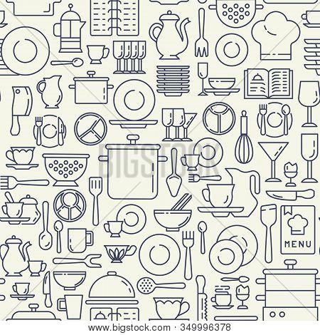 Dishes, Utensils Icons Pattern. Kitchen Utensils Seamless Background. Restaurant Kitchenware Seamles