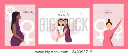 International Women's Day. 8 march, womans day, womens day background, womens day banners, womens day flyer, women's day design, womens day with flowers on red background. Vector template with lettering design. Vector illusttation.