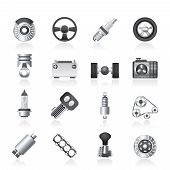 Different kind of car parts icons - vector icon set poster