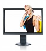 LCD monitor isolated over a white background poster