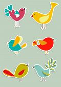 Retro Social media birds in label style series. Vector file poster