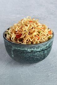 Instant Noodles With Carrot, Scallions, And A Sauce, A Vegetable Soba Bowl With A Place For Text