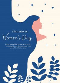Happy International Womens Day on March 8th design holiday background. Illustration of womans face profile with retro style makeup.8 march, womans day, womens day background, womens day banners, womens day flyer holiday, womens day holiday design, womens