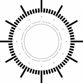 Clock Dial Black Rectangle Signs Pointing Negative Space On Transparent Background