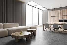 Interior Of Modern Living Room With Grey Walls, Concrete Floor, Comfortable Sofa And Round Coffee Ta