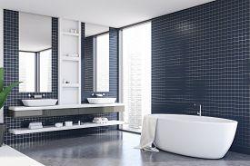 Blue Tile Bathroom Corner With Tub And Sink