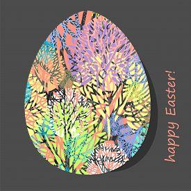 Decorative Easter Egg With Natural Pattern. Vector Illustration.