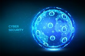 Cyber Security. Earth Globe Illustration. Abstract Polygonal Planet. Information Protect And Securit