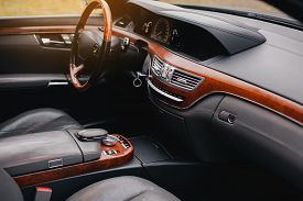 Luxury Premium Car Interior With Leather Seats And Modern Technology.