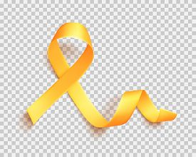 Realistic Gold Ribbon. World Childhood Cancer Symbol 15th Of February, Vector Illustration. Template