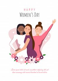 Happy womens day illustration. March 8, International Womens Day. Happy girls hugging. African american woman. Love between the girls. 8 march, womans day. Vector illustration. 8 march, womans day, womens day background, womens day banners, women's day fl