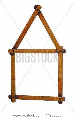 Symbol Of House Made Of Old Yardstick
