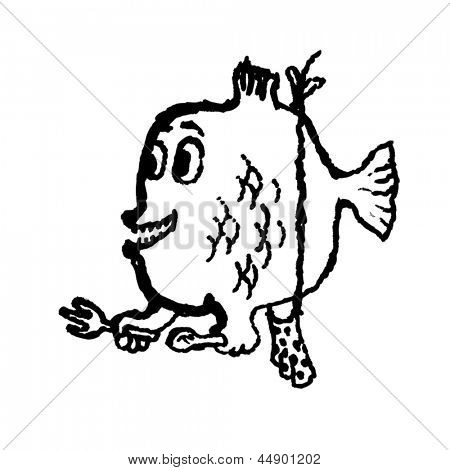 Piranha. Doodle illustration. Vector